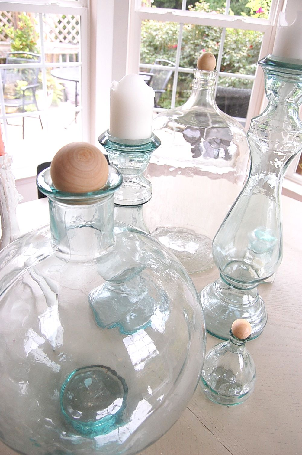 Wooden craft balls as decanter stoppers <3
