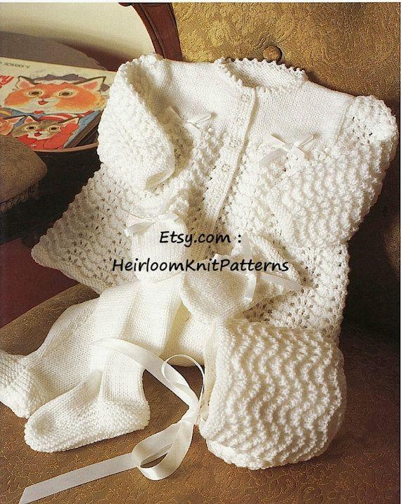 8604240e8 Baby Jacket Leggings Bonnet Mitts Knitting Pattern 0-18M 16-20 ...