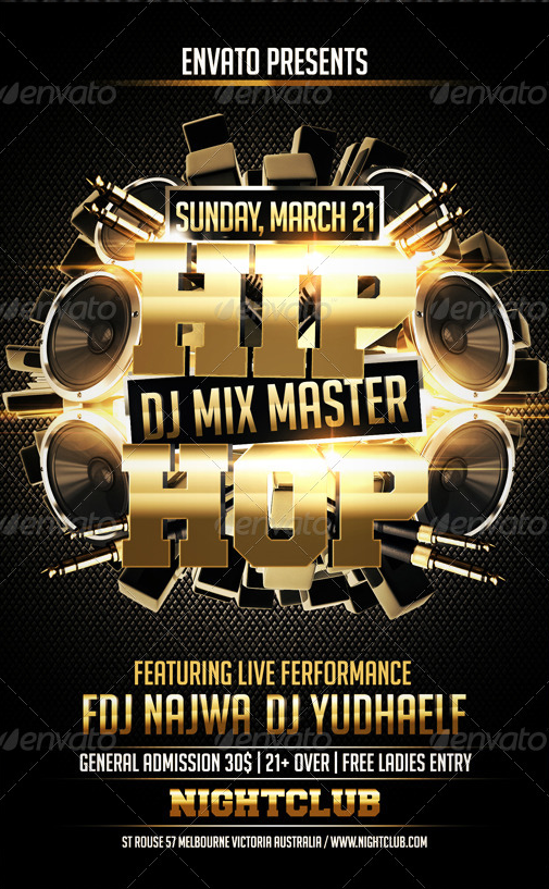 Hip Hop Friday Flyer Template - Party Flyer Templates For Clubs ...