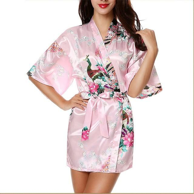 df5c1b1404 Silk Satin Wedding Bride Bridesmaid Robe Floral Bathrobe Short Kimono Robe  Night Robe Bath Robe Fashion Dressing Gown For Women