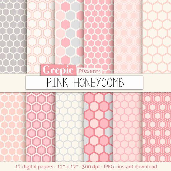 "Honeycomb digital paper: ""PINK HONEYCOMB"" patterns, geometric pink hexagon backgrounds #etsy #bestofetsy"