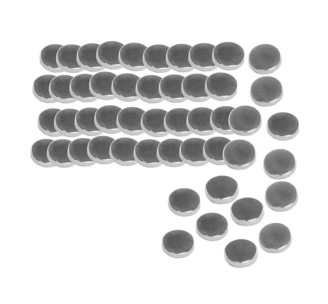 Magnet-Set mit 50 Magneten. Vielseitig einsetzbare Magnete mit besonders starker Haftkraft. Ø ca. 10 mm, Stärke ca. 2 mm.                 Inhalt: 50  Stück, Ø: 10 mm, Stärke: 2 mm, Material: Metall