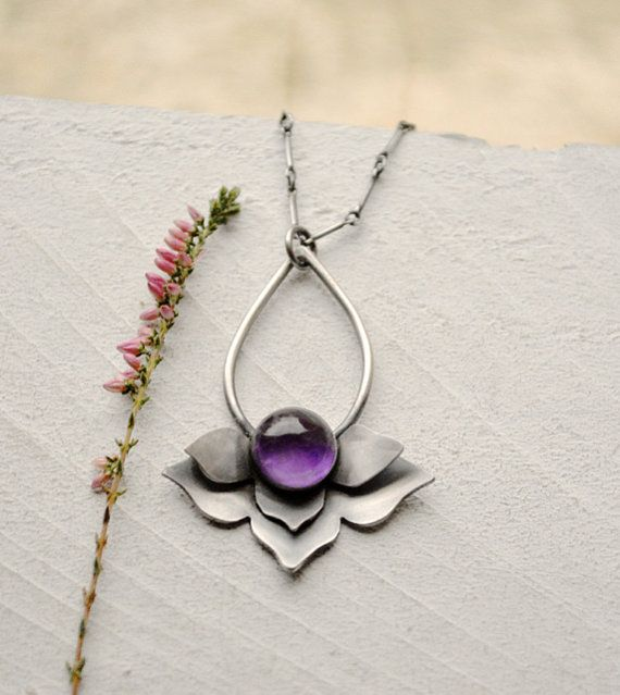 Silver Lotus Necklace Botanical Necklace Amethyst by EONDesign