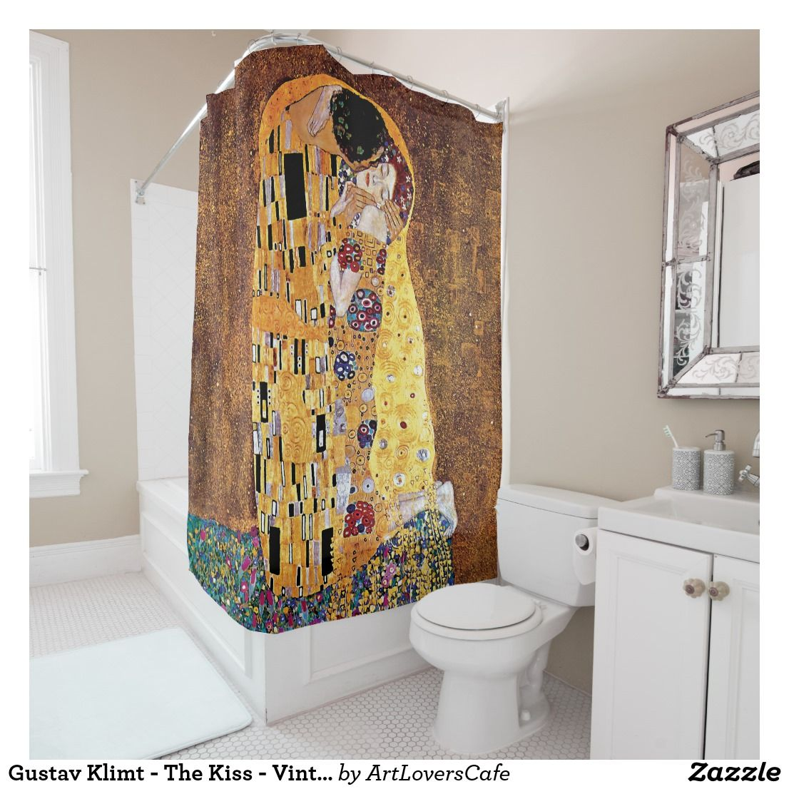 Gustav Klimt The Kiss Vintage Art Nouveau Shower Curtain