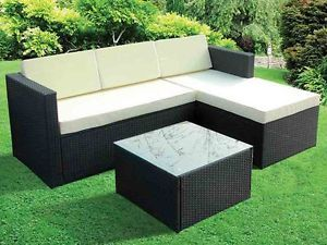 3pc Modern Rattan Corner Sofa Garden Furniture W Coffee Table