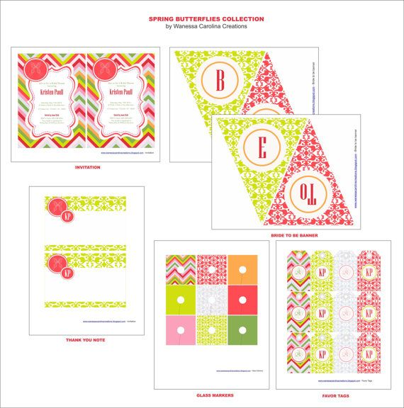 CLICK ON THIS PIN and get the newest printables designs on the web! Trendy colors, spring 2012 trends, Bridal Shower, party printables, custom design, party ideas, bridal shower invitation, DIY party, party designs $48.00