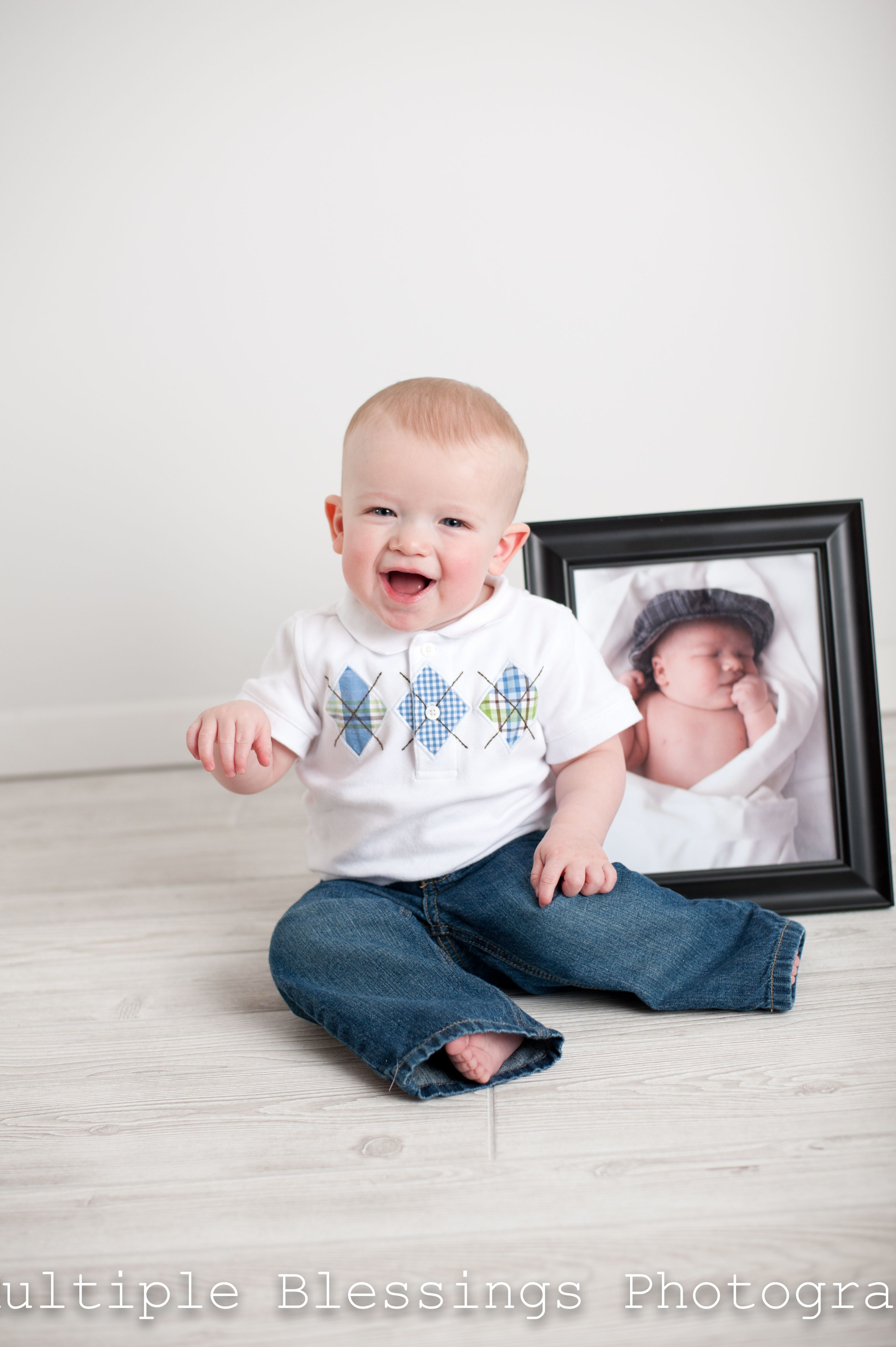 i had the parents bring babies newborn picture we used it with his 1st birthday pictures  Look