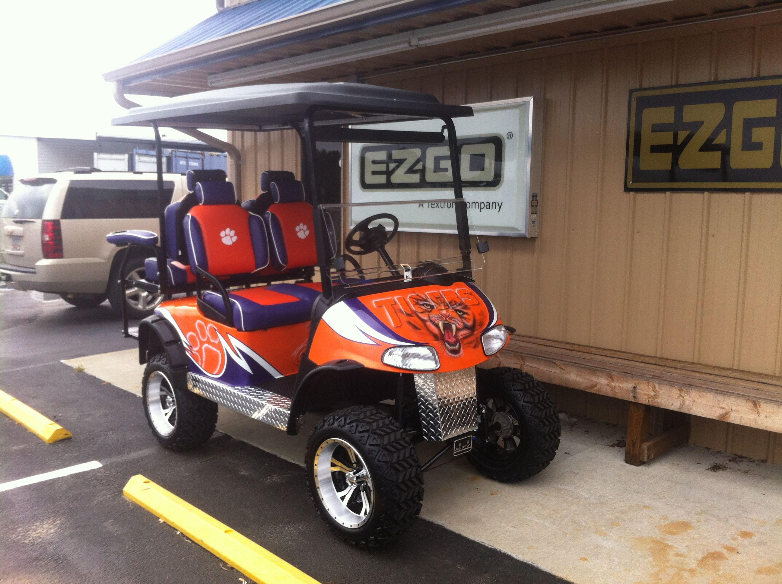 Custom Clemson Tigers cart | our custom themed golf carts ... on auburn university golf club clothing, auburn university club golf course, beach buggy cart,