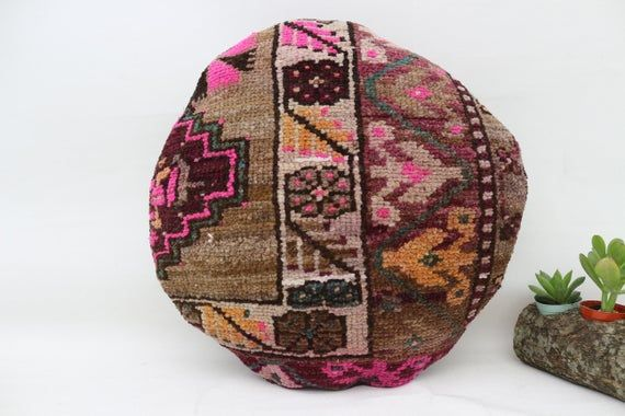Turkish Rug Pillow 18x18, Round Bohemian Pillow, Embroidered Pillow,Cushion Cover, Pink Pillow,Throw