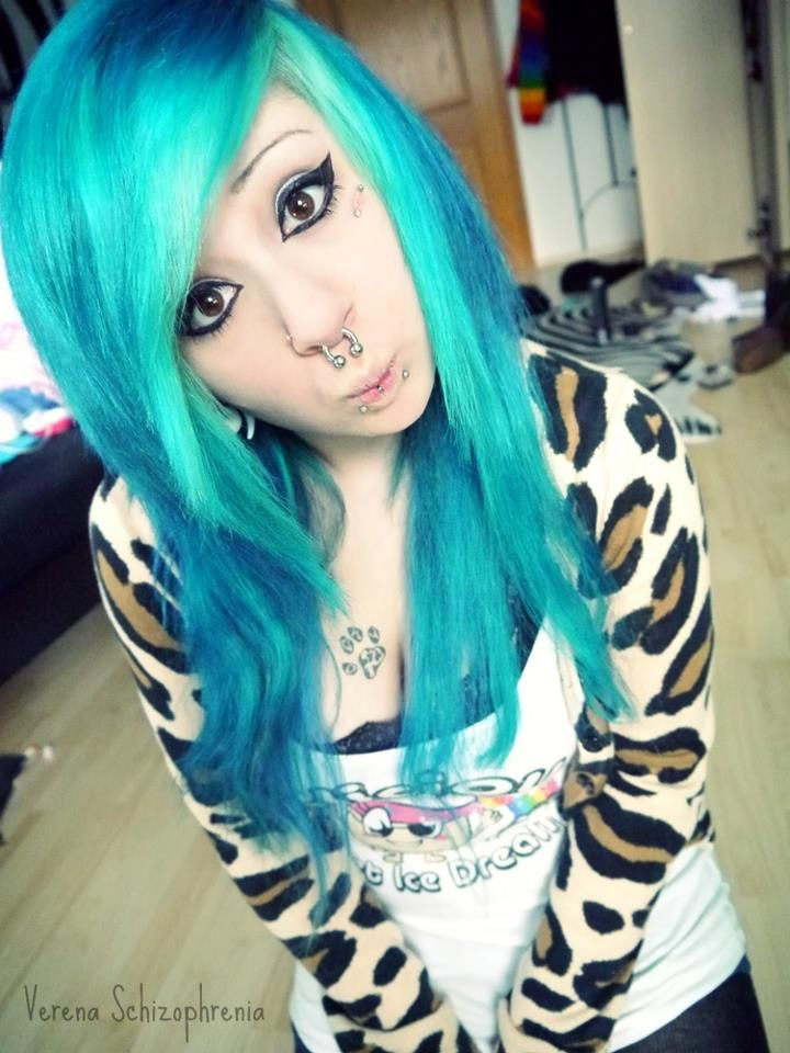 Verena Schizophrenia Blue Dyed Hair Pretty Cute Scene Hair