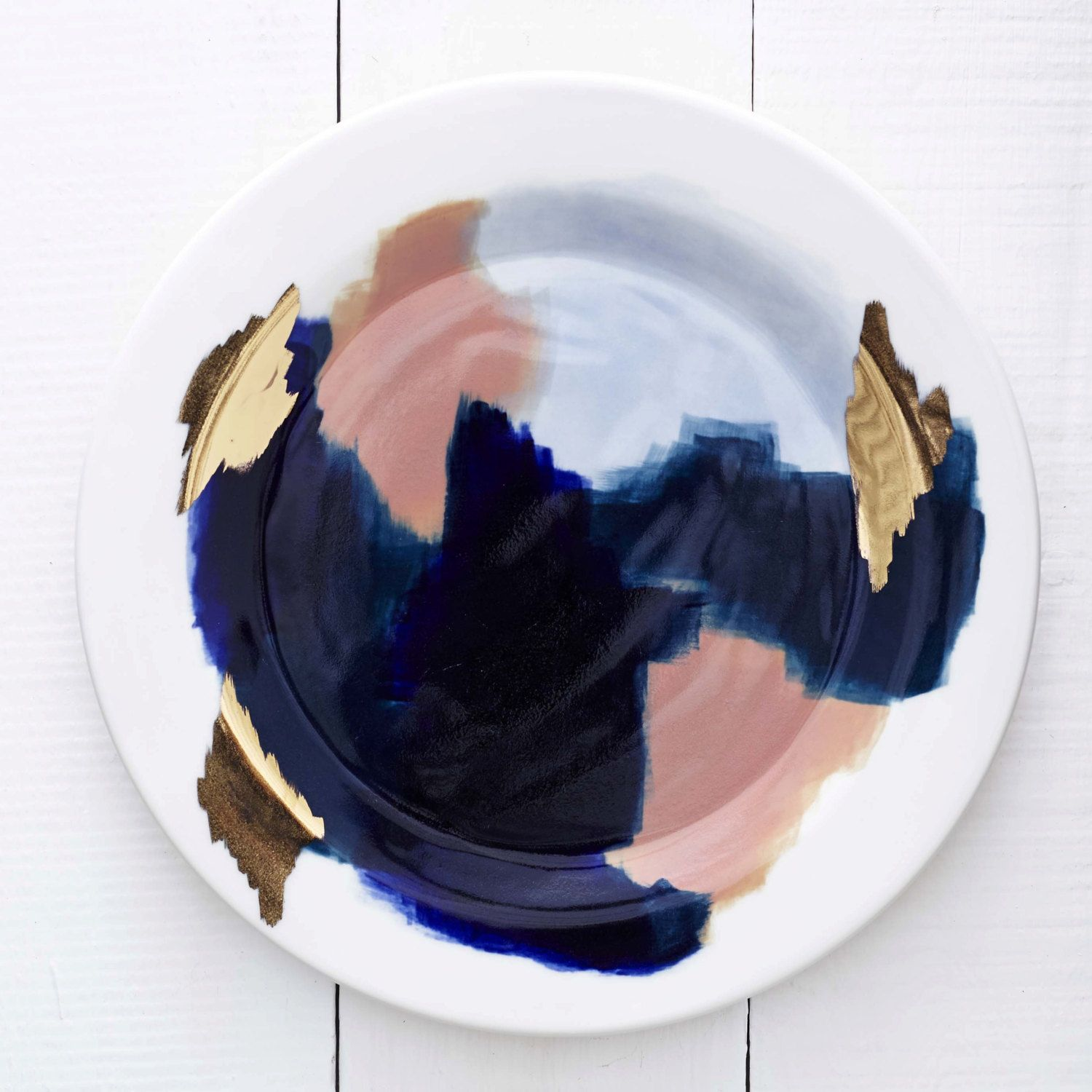Canyon Series Glacier Hand Painted Porcelain Dinner Plate with Gold Luster - redraven studios & Glacier Hand Painted Navy Blue Peach 14k Gold Porcelain | Ceramics ...