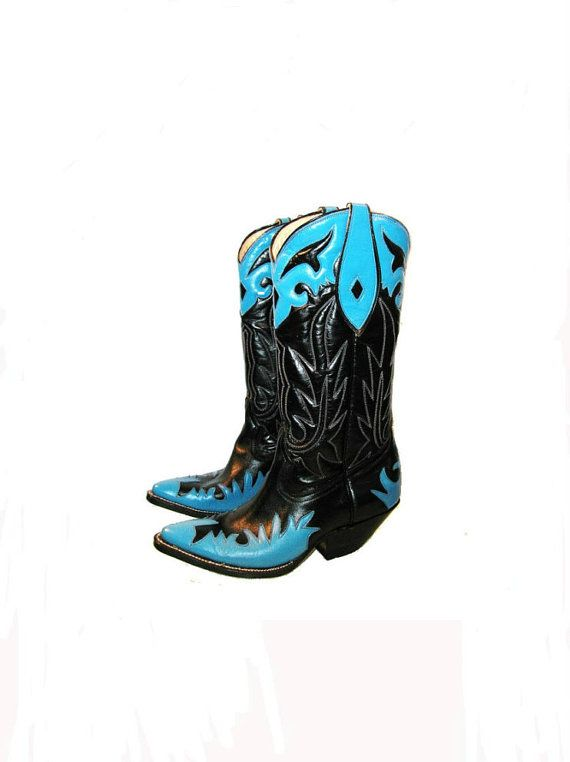 Vintage 1980's Cowpunk Cowboy Boots Woman's US by Atomicfireball, $225.00
