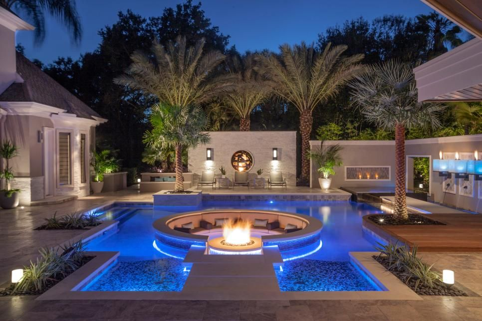 Tropical Pool With Sunken Fire Pit Seating Area Sunken