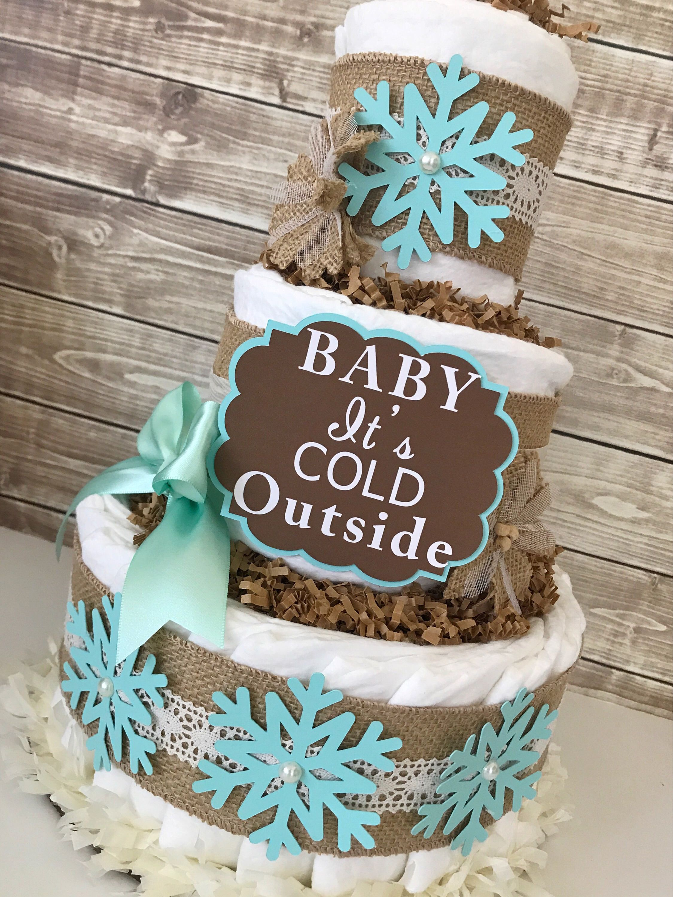 Baby It s Cold Outside in Burlap and Mint Winter Theme Baby