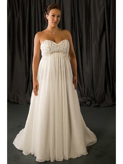 empire plus size wedding dresses | ... Empire Waist Ruched Long ...