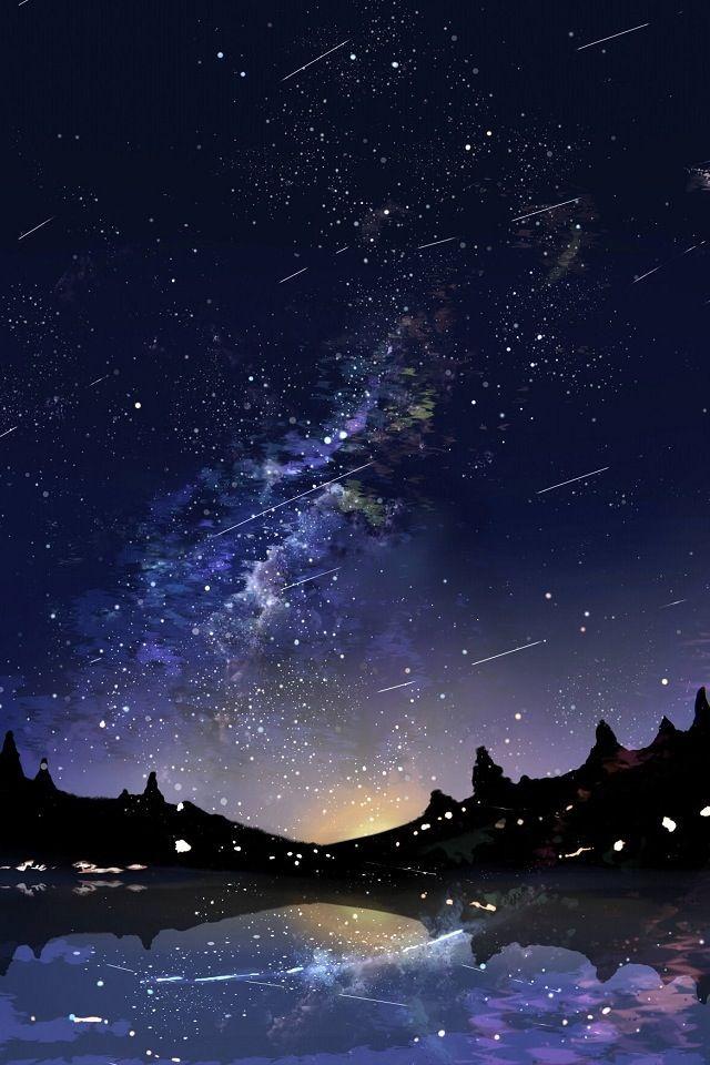 人気14位 星降る夜の壁紙 Iphone壁紙ギャラリー 流れ星 イラスト 冬イラスト 星 壁紙