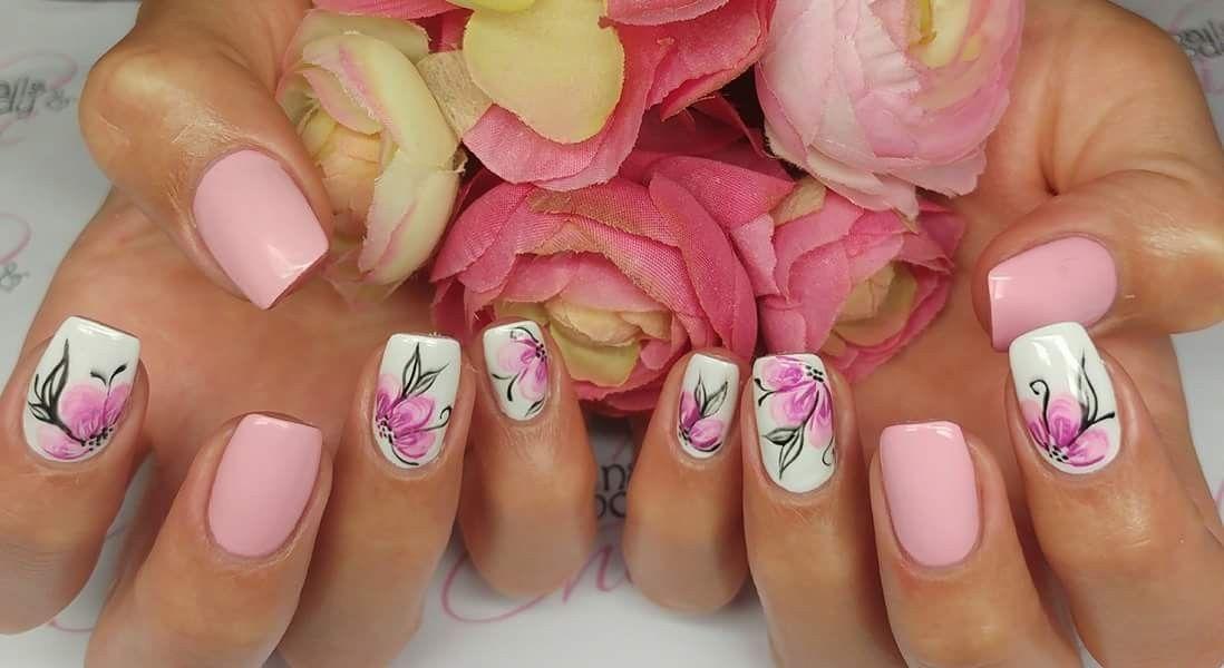 Unghie Rosa Cipria E Bianco Con Fiori Nails Unghie Rosa Cipria