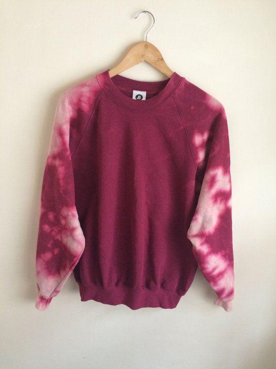2c0a21b50f53 Tie Dye Bleached Wine Red Burgundy Sweatshirt by JessIrwinClothing ...