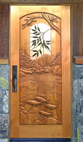 River Fish carved door by Ron Ramsey of Lake Tahoe. I know a couple of ardent fishermen (recreational) who would love a door like this. & Don\u0027t even want to think about how much this would cost... | Living ...
