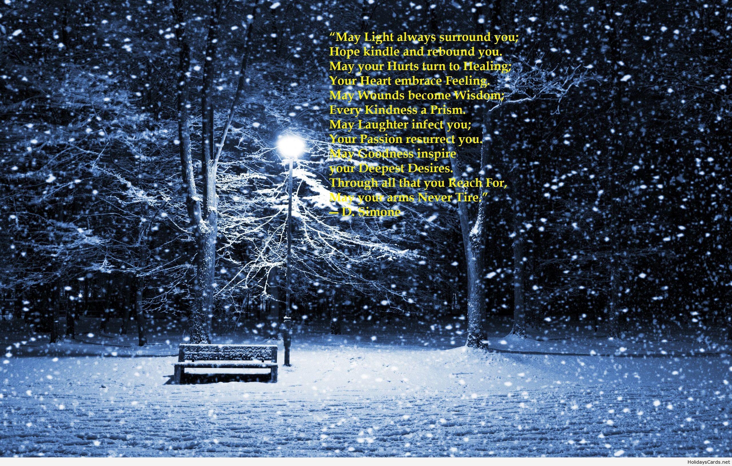Winter Desktop Wallpaper With New Year Poem