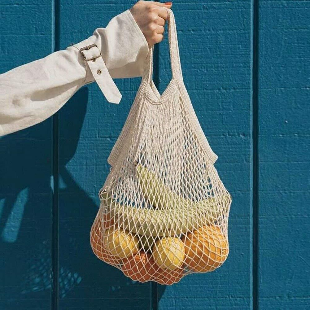 Mesh Net Shopping Bags Cotton Eco Friendly Tote String Foldable Reusable Beige