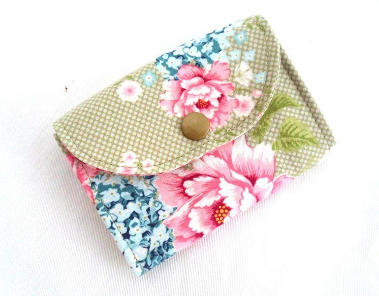 Porte monnaie porte cartes en tissu fleuri tilda pochette 3 compartiments fermeture par - Porte monnaie en tissu ...