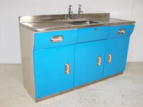 Vintage Retro English Rose Metal Kitchen Sink Unit Cabinet Cupboard - Metal kitchen sink cabinet unit