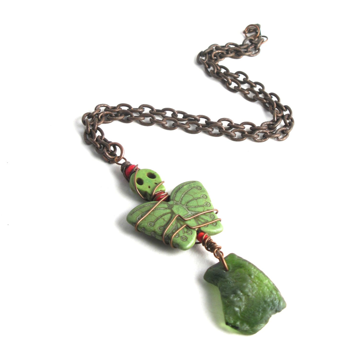 Rhode Island Olive Green Bonfire Sea Glass With A Stone Deaths Head Wiring Moth Wrapped Copper Wire On An Antiqued Chain Necklace