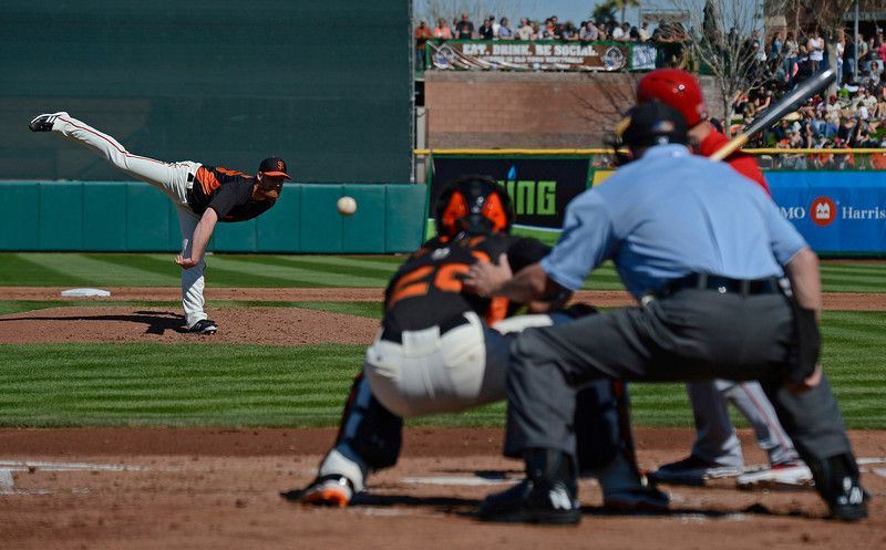 San Francisco Giants pitcher Chad Gaudin (53) pitches against the Los Angeles Angels during the third inning of their Cactus League game at Scottsdale Stadium in Scottsdale, Ariz., on Saturday, Feb. 23, 2013. San Francisco defeats Los Angeles 4-1. (Jose Carlos Fajardo/Staff)