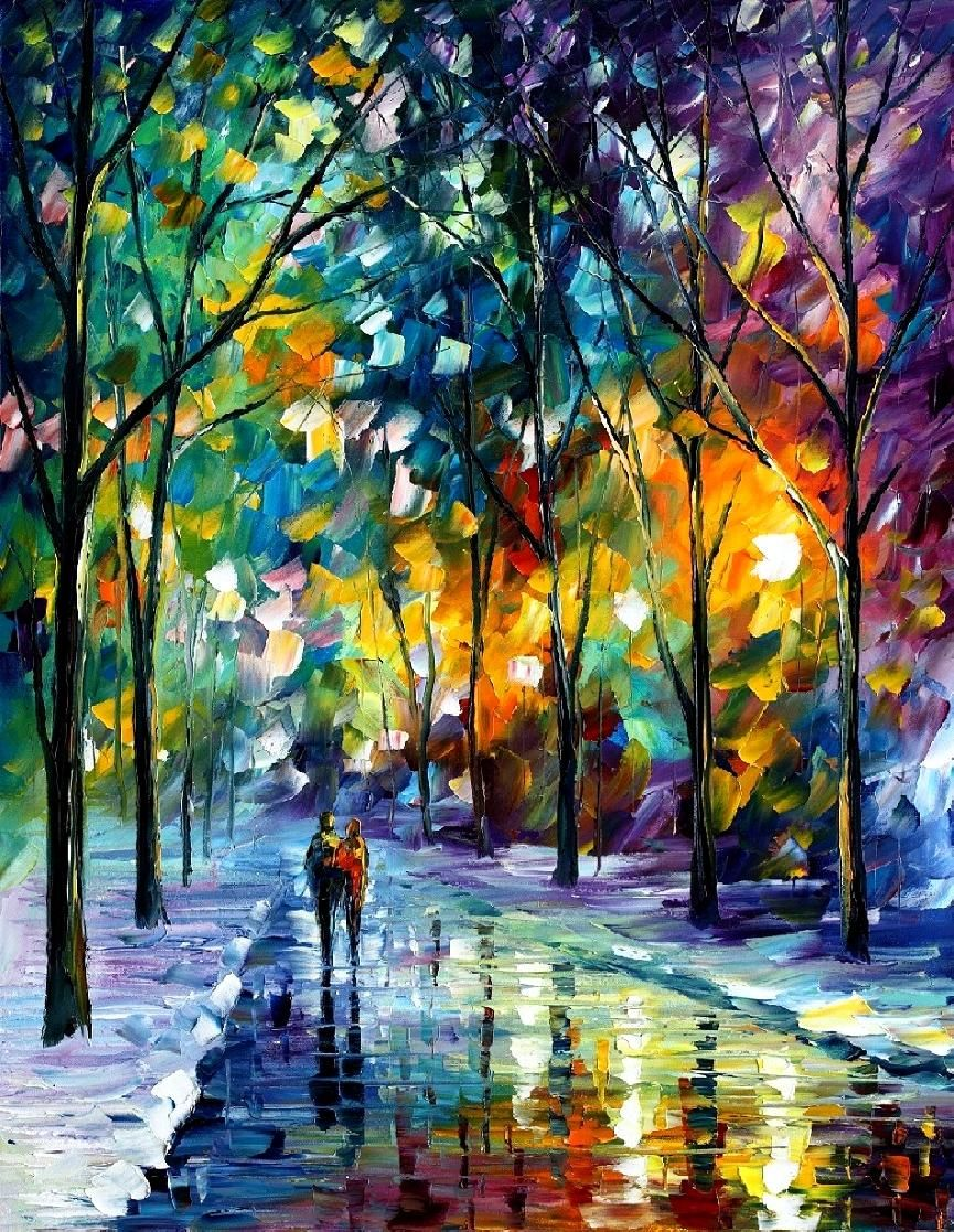 Night Colors Palette Knife Winter Landscape Wall Art Oil Painting On Canvas By Leonid Afremov