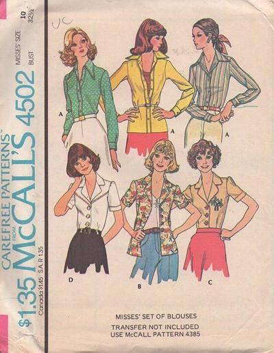 MOMSPatterns Vintage Sewing Patterns - McCall's 4502 Vintage 70's Sewing Pattern SUPER CUTE Retro Waitress Look Buttoned Blouse, Disco POINTY Collar Shirt Set