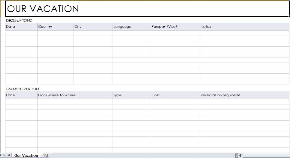 Vacation Planner Template  Excel Templates    Planner