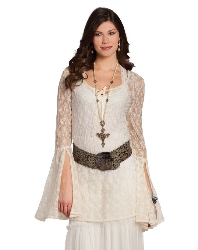 14bcf83997470 Lace Top Tunic Ivory Size XXL Boho Western Cowgirl  RanchoEstancia   tunictops  sexy
