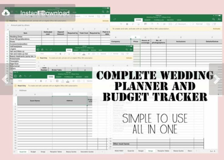 Wedding planner  budget / expense tracker excel spreadsheet Top