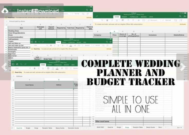 Wedding Planner Budget Expense Tracker Excel Spreadsheet