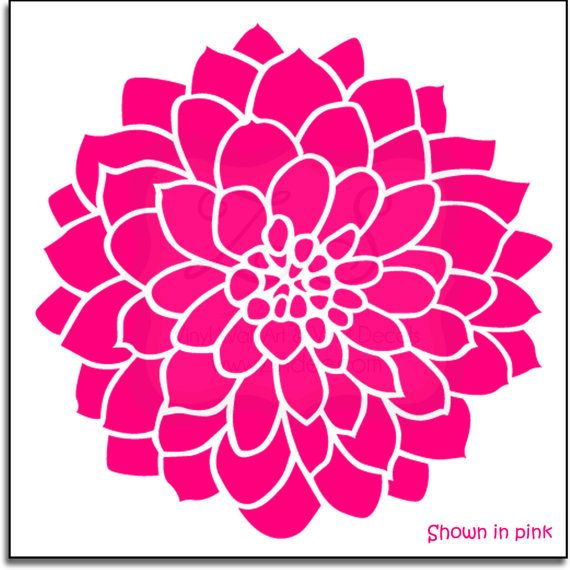 Hey I Found This Really Awesome Etsy Listing At Https Www Etsy Com Listing 178616754 Large Dahlia Flower Decal 2 Vinyl Wall Art Flower Drawing Dahlia Flower