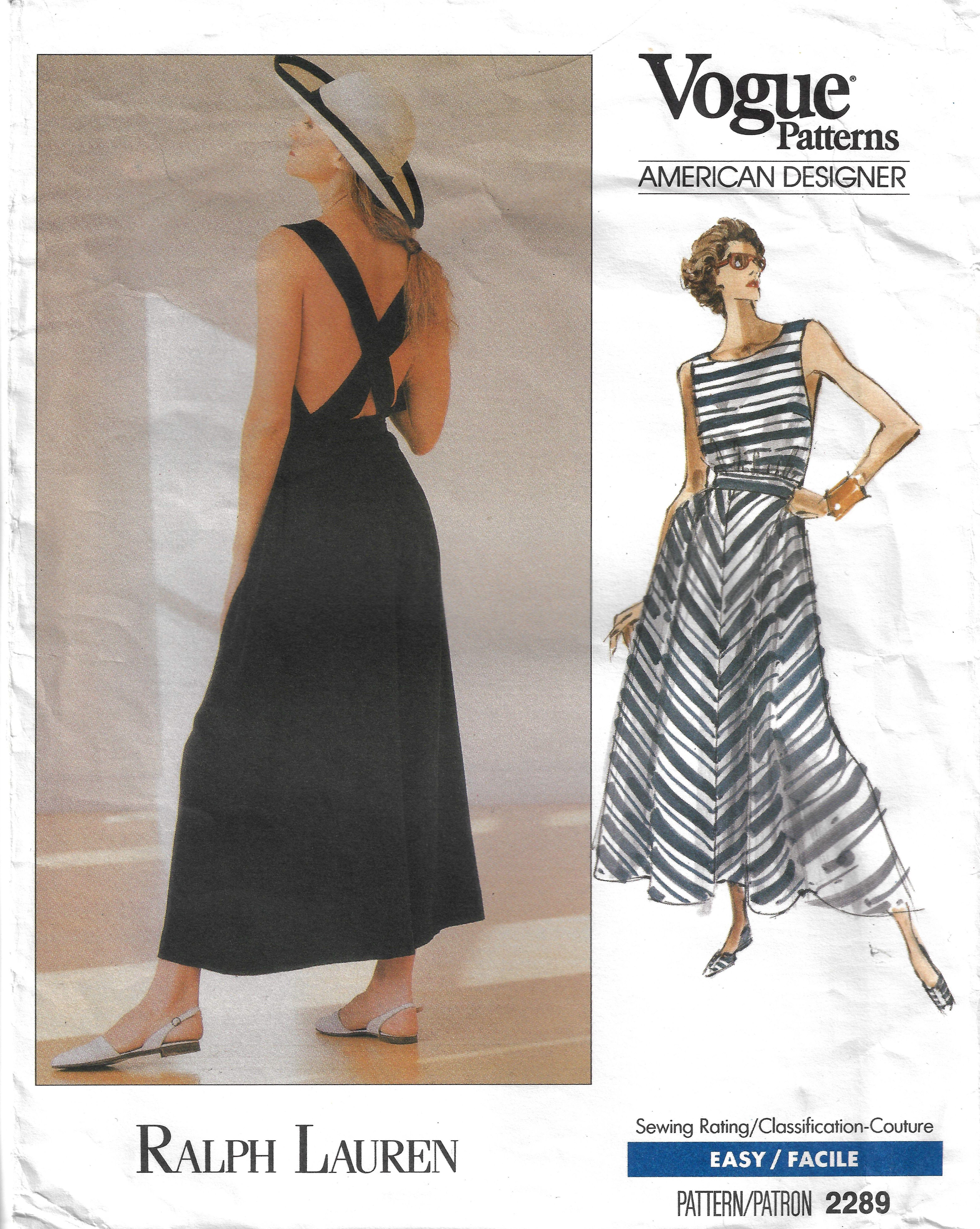 Vogue Patterns American Designer 2289 By Ralph Lauren Vintage
