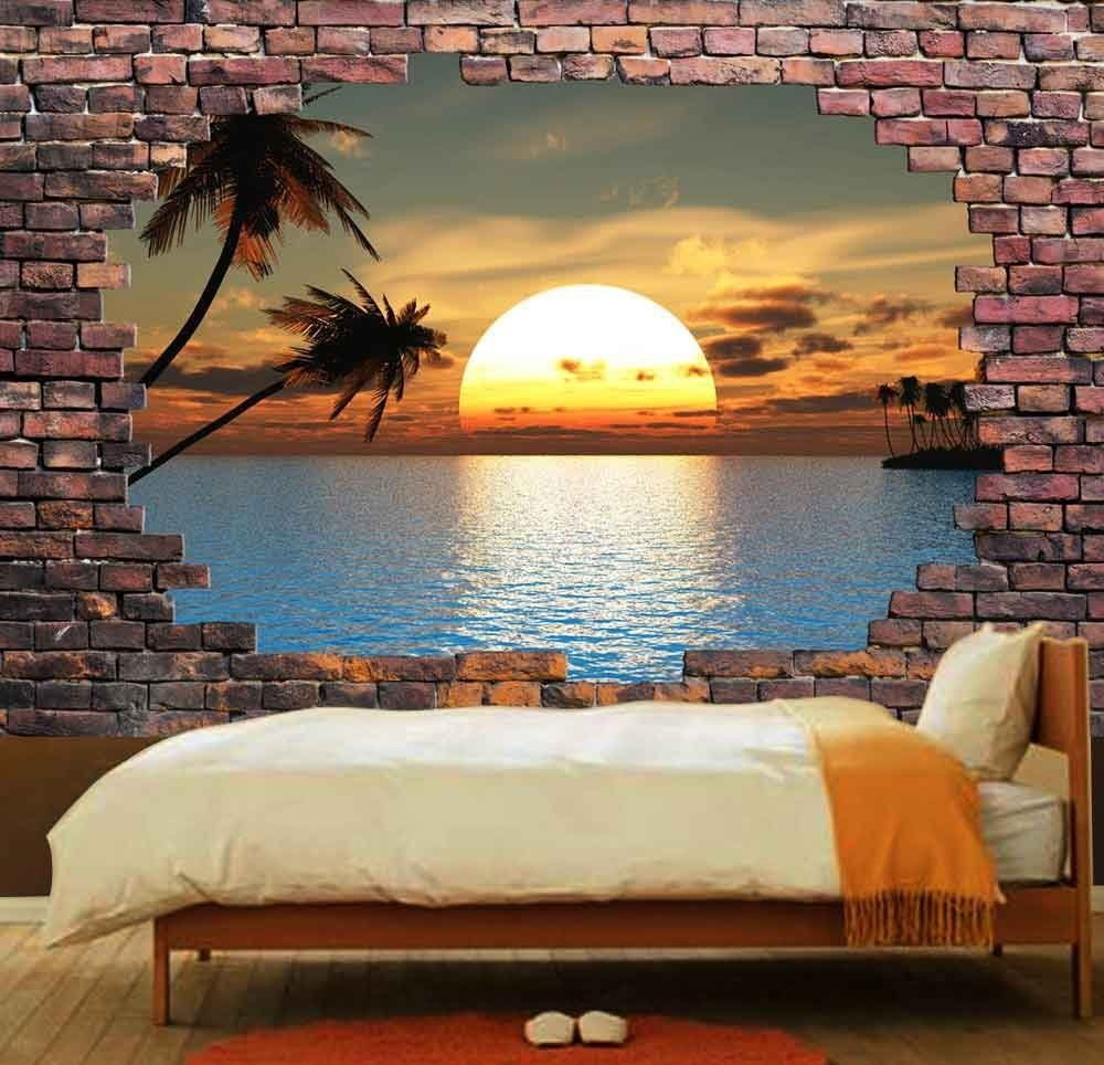 Amazon Com Wall26 Large Wall Mural Majestic Landscape Viewed Through A Broken Brick W