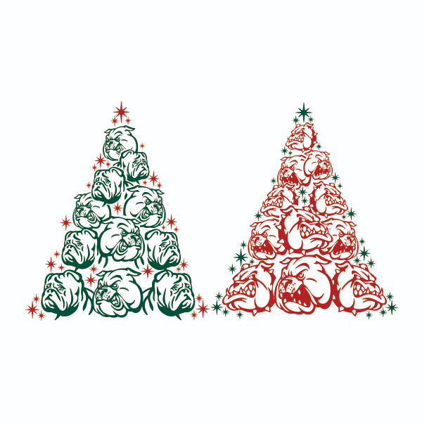 Bull Dog Christmas Tree Cuttable Design Christmas Dog Tree Svg Christmas Tree