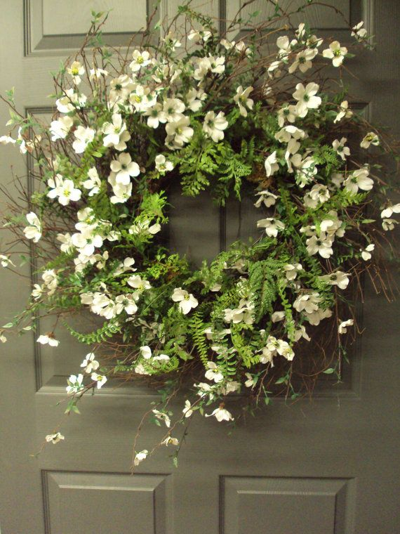 Dogwood Wreath For Front Door Bridal Wreath Wedding Wreath White Wreath Bridal Shower Wreath Bridal Shower Wreaths Wedding Wreaths White Wreath