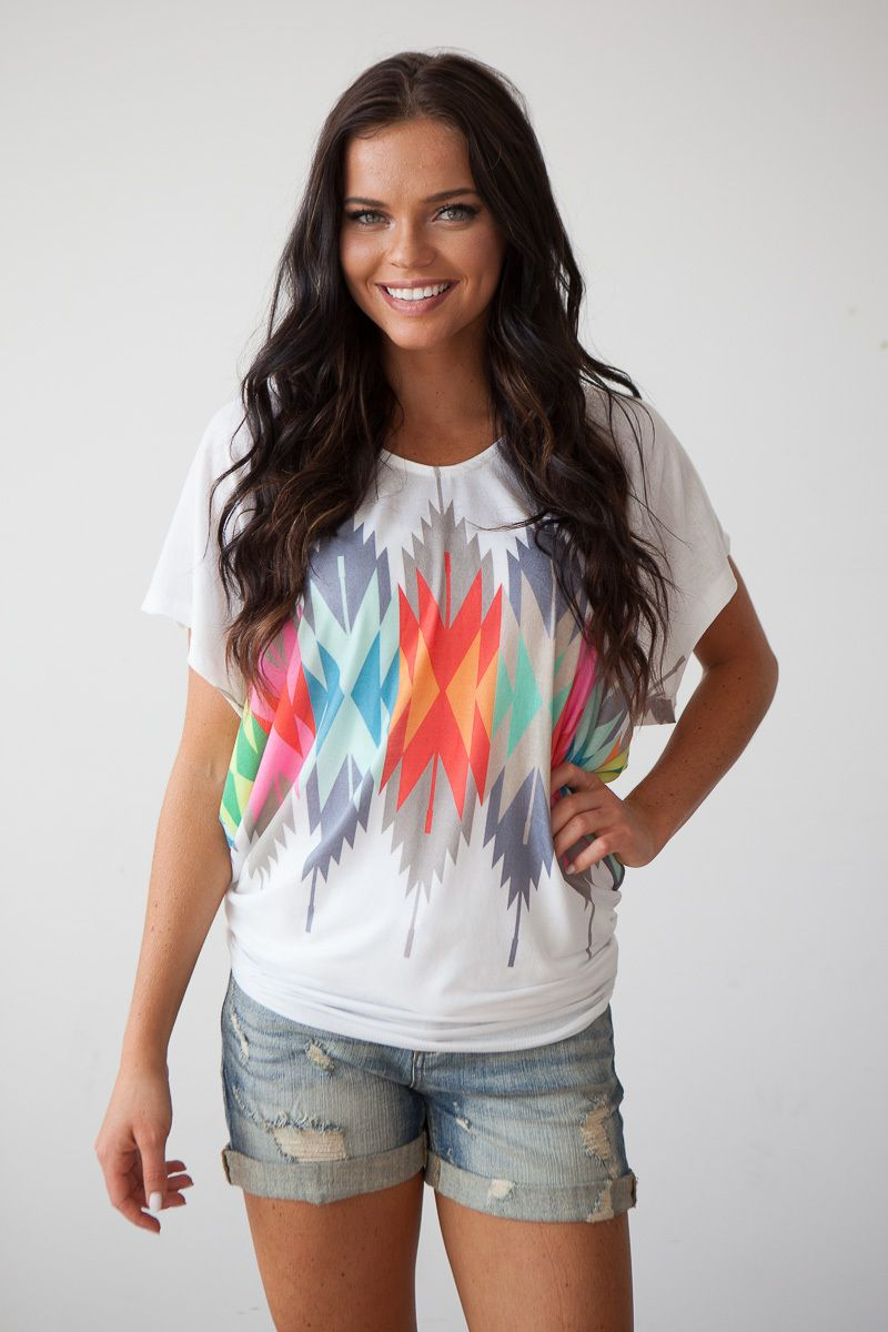 Magnolia Boutique Indianapolis - Tribal Print Dolman Tee - White Multi, $39.00 (http://www.indiefashionboutique.com/tribal-print-dolman-tee-white-multi/)