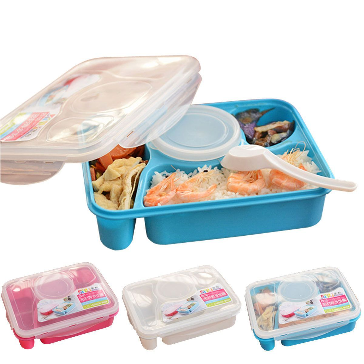 Separated Bento Lunch Box Set Utensils Food Storage Container Microwave Oven