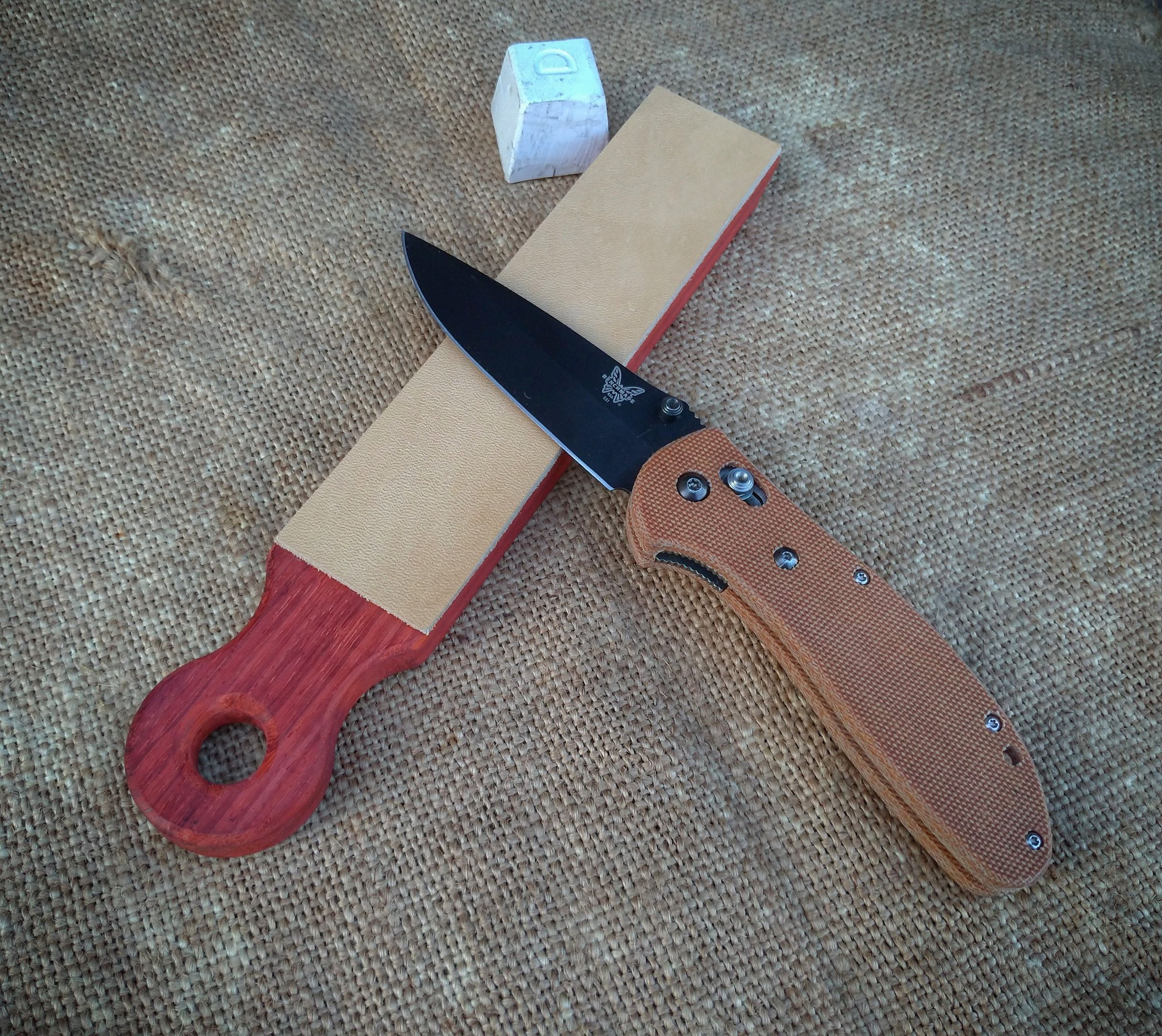 Knife Sharpening Leather Strop Single Side Leather Padauk Wood