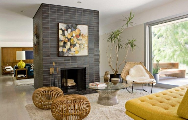 Fireplace Combine Mid Century Modern Living Room