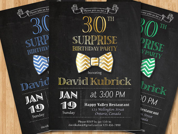 30th Birthday Invitation For Men Bowtie Little Man By Arthomer 1000