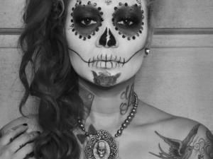 in love with dia de los muertos make up maquillage t te de mort et tete de. Black Bedroom Furniture Sets. Home Design Ideas