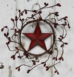 Primitive Burgundy Pip Berry Star Wreath