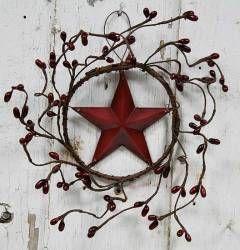 Primitive Burgundy Pip Berry Star Wreath