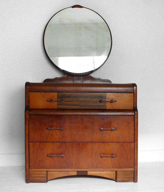 Art Deco Dresser With Round Mirror Via Hindsvik Etsy Com Art Deco Furniture Art Nouveau Furniture Art Deco Dresser