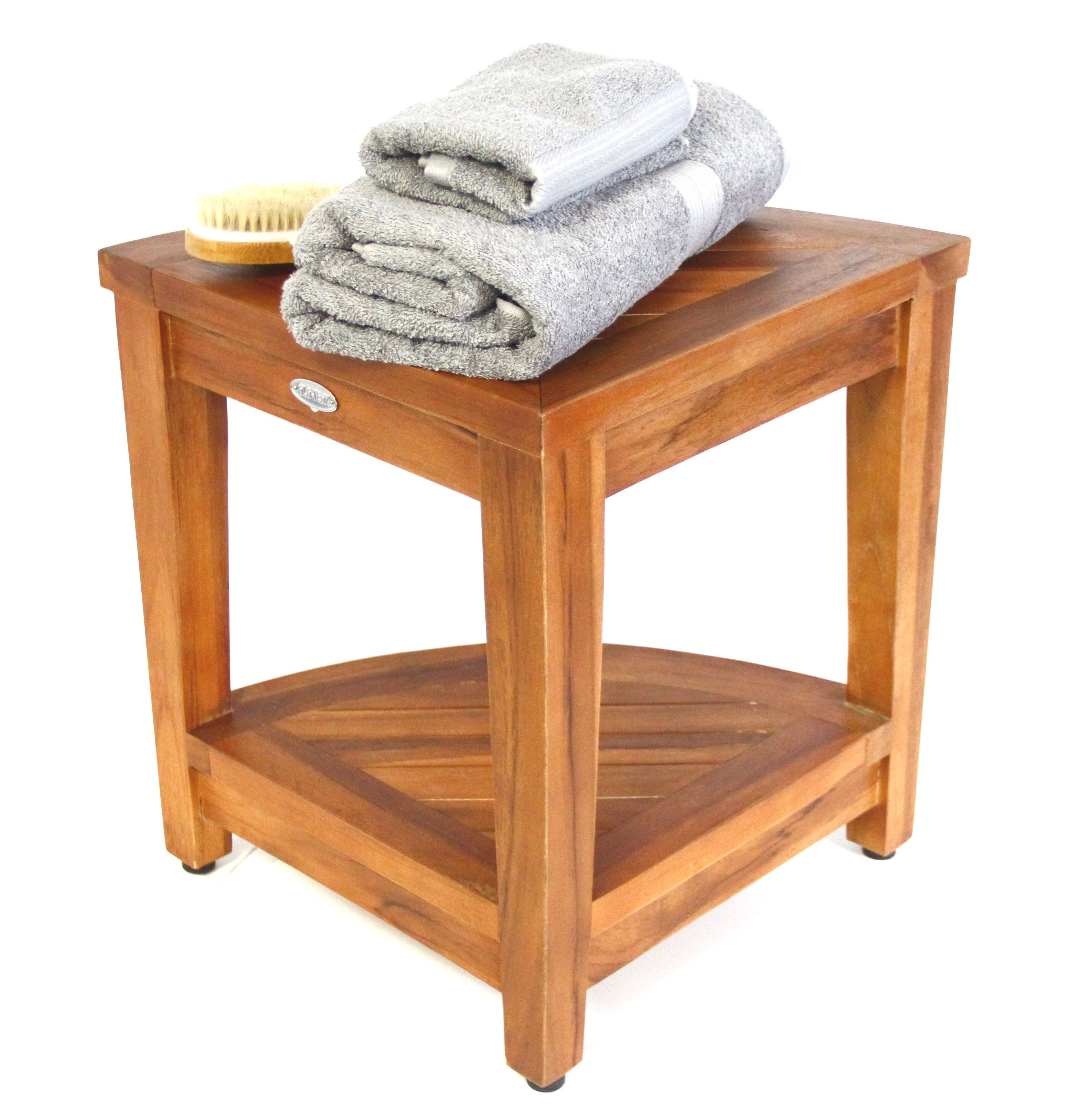 new fully inch patented bench corner tranquility design storage stool shelf amazon com style eastern sitting dp teak oasis assembled with shower